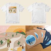 Tシャツ+1st 作品集『風 暮らし こころ セッション』(全12曲入りCD)+ライブ会場限定HOME DEMO E.P『1st echo』(全4曲入りCD)+オリジナルステッカーセット