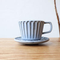 N▶400(エヌ・ヨンヒャク)  しのぎカップ&ソーサー ライトブルー