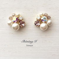 【金属アレルギー対応】Mix stone *Vintage pink / Pierce