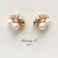 【金属アレルギー対応】Mix stone *Light brown / Pierce