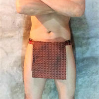 ふんどし【茶ライン02】 リネンヘンプ Shinobi Samurai Under Wear Brown(LinenHemp) chanel line pattern02