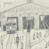 齋正機「 新津駅より 」 鉛筆ドローイング 10×14cm