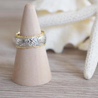 no.18 K14 reversible honu Plumeria ring