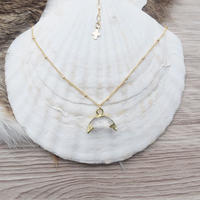 14kgf  crystal horn necklace