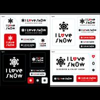 I LOVE SNOW ステッカー(Ver.2)4種類セット