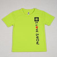 I LOVE SNOW Classic ドライキッズTシャツ(ライトグリーン)