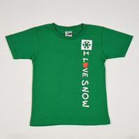 I LOVE SNOW Classic コットンキッズTシャツ(グリーン)