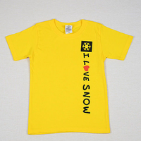 I LOVE SNOW Classic コットンキッズTシャツ(イエロー)