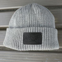 LEATHER PATCH CUFF WATCH CAP  (HEATHER GREY) Made in Japan [SH180501GRY]