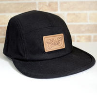 LEATHER PATCH  MELTON  COMFORT-5 CAP (BLACK) made in japan (SH180101BLK)