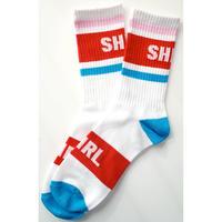 SHIRL 19CREW  SOCKS   ( RED/BLUE) (SH191601RBL)  MADE IN JAPAN