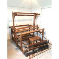 H066【USED】<大忠式機織> 椅子付き 踏木6本 糸綜絖4枚 有効織幅120cm