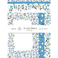 LLL343 とっておきの3柄レターセット manymany 青い花