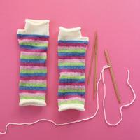 印刷版レシピ「ボーダーカラー糸で編むアームウォーマー」