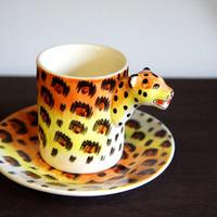 ★ 3D立体 アニマル カップ&ソーサー /  Leopard (ヒョウ) ★