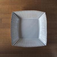 輪花8寸角鉢【白萩釉】