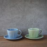 しのぎコーヒーカップ&ソーサー 全2色