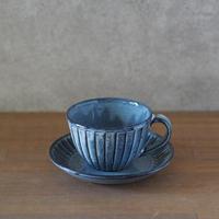 しのぎコーヒー碗皿(グレー)