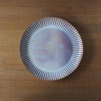輪花8寸皿【粉引紫】