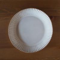 輪花8.5寸皿【白萩釉】