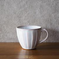 面取マグカップ【白萩釉】