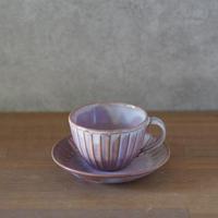 しのぎコーヒー碗皿【粉引紫】