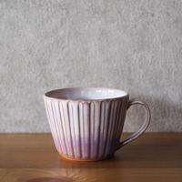しのぎカフェオレカップ・大【粉引紫】