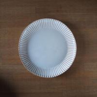 輪花8寸皿【白萩釉】