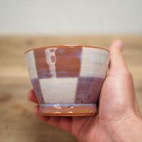 市松模様碗【粉引紫】