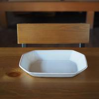 八角オーバル鉢【白萩釉】