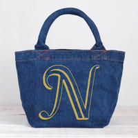 Organic Denim Initial Tote N/ Ginger Beach Inn Original