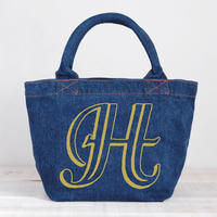 Organic Denim Initial Tote H / Ginger Beach Inn Original