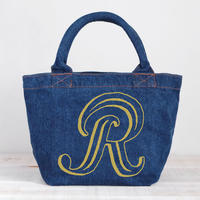 Organic Denim Initial  Tote R / Ginger Beach Inn Original