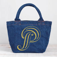 Organic Denim Initial Tote P / Ginger Beach Inn Original