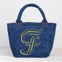 Organic Denim Initial Tote F / Ginger Beach Inn Original