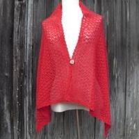 手編みアルパカ4wayボタン付きショール/炎の赤