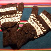 アルパカ100% 手編みてぶくろ 指なし・取り外しできるカバー付き Mサイズ 黒
