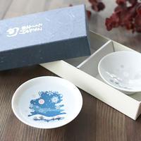 冷感雪結晶 白平盃 ペアセット 箱入 / 丸モ高木陶器<CE-028>