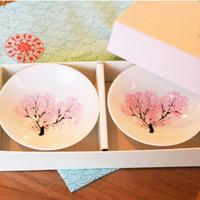 冷感桜 白平盃 ペアセット 箱入 / 丸モ高木陶器<CE-002>