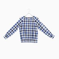 194830 ブロックチェック裾ギャザーシャツ