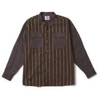 SON OF THE CHEESE / Stripe Cleric Shirt ( BROWN )