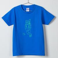 キャリー鯖Tシャツ(キッズ) ブルー×グリーン(5.6オンス)