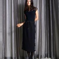 ワッフルジャガードサイドロゴミディタイトスカート CQ-39071