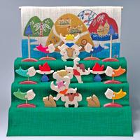 【五月人形】三童子三段飾り/特製垂幕