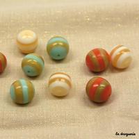 Perle « Rayures transat boule » 21 à 19 mm