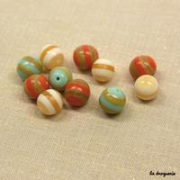 Perle « Rayures transat boule » 17 à 14 mm