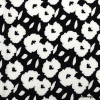 Tissu « Hello flower ! » Noir et blanc
