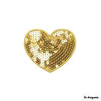 Ecusson « Pailleté coeur » Doré| Ecusson à thermocoller 80 à 70 mm