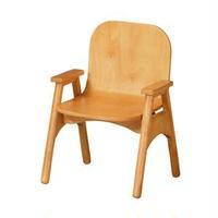 キッズアームチェア/子供椅子 【ナチュラル】 幅375mm 木製脚付き 肘付き スタッキング可 〔リビング プレゼント〕 組立品【代引不可】