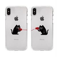 Dparks iPhone XS / X ソフトクリアケース 糸電話 聞くネコ